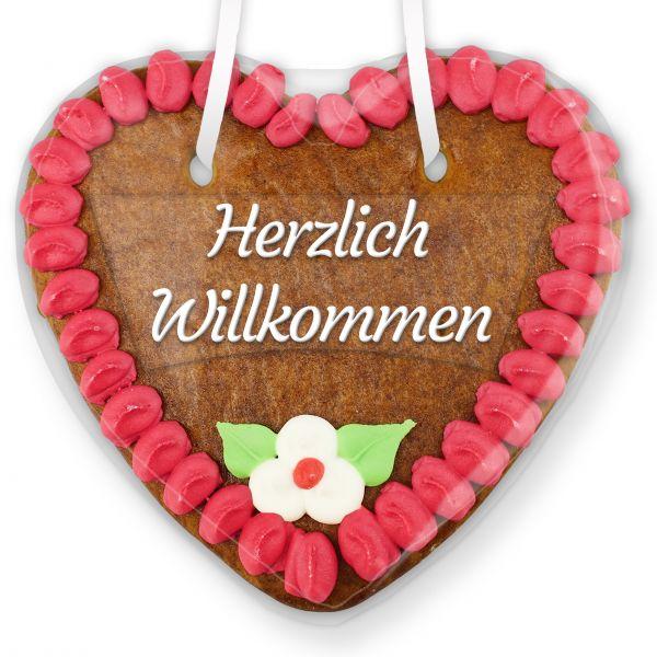 Lebkuchenherz mit Text - Aufkleber - 14cm - Herzlich Willkommen - Pink