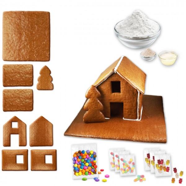 Lebkuchenhaus – Bausatz mit Zuckerguss Fertig-Mix - ca. 43x42x28cm - inkl. Schokolinsen und Gummibär
