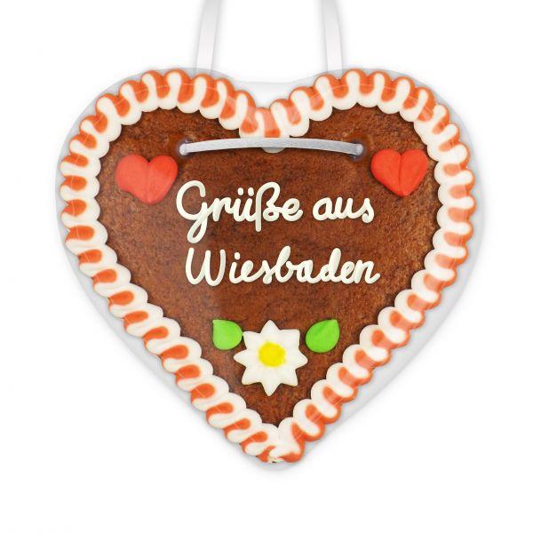 Lebkuchenherz, 12cm - Grüße aus Wiesbaden