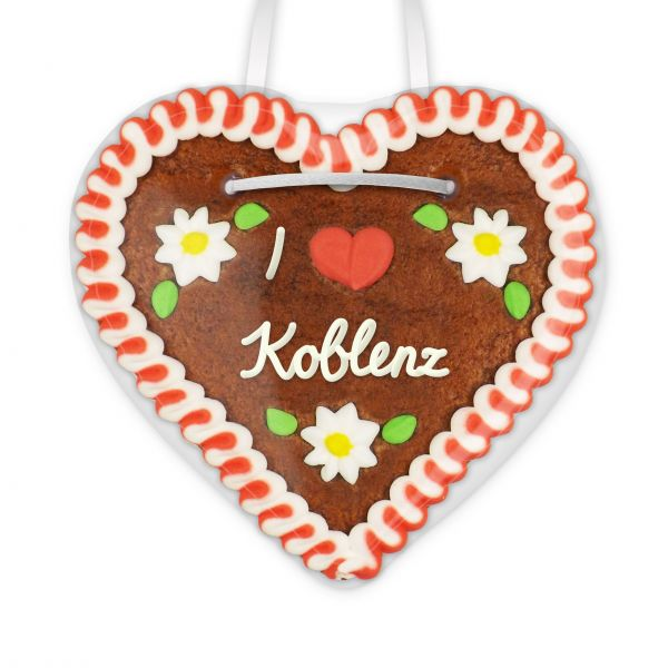 Lebkuchenherz, 12cm - I love Koblenz