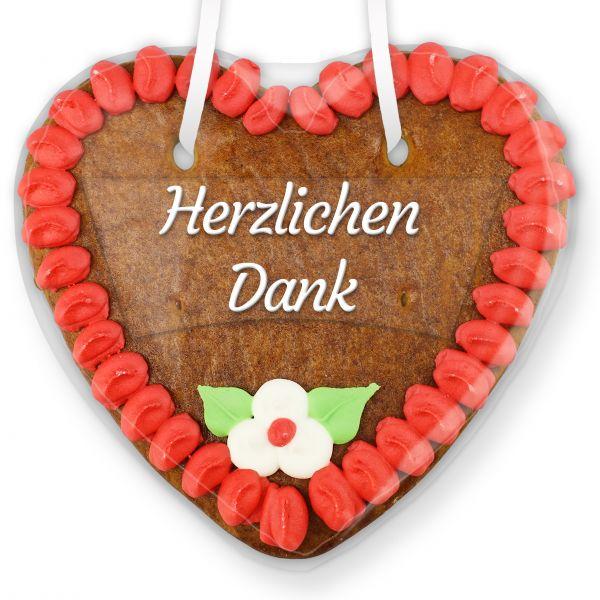 Lebkuchenherz mit Text - Aufkleber - 14cm - Herzlichen Dank - Rot