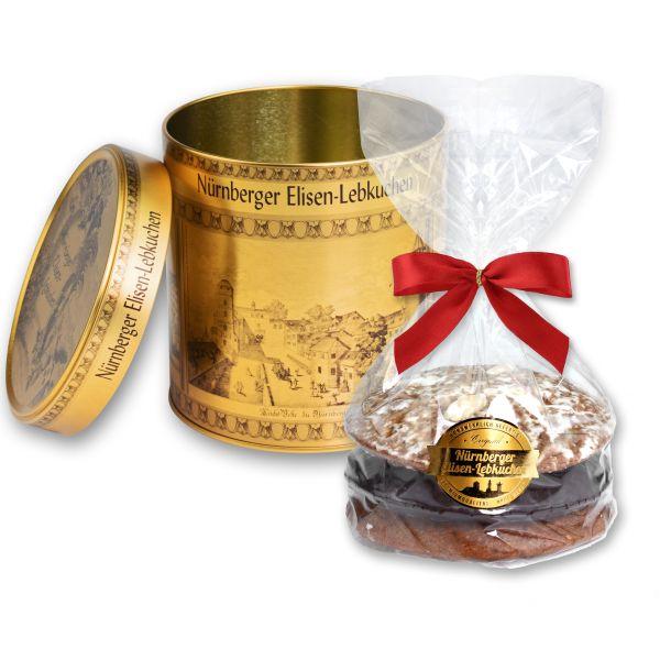 Elisen Dose - Stadt Nürnberg - Gold - mit 3 Elisenlebkuchen 240g