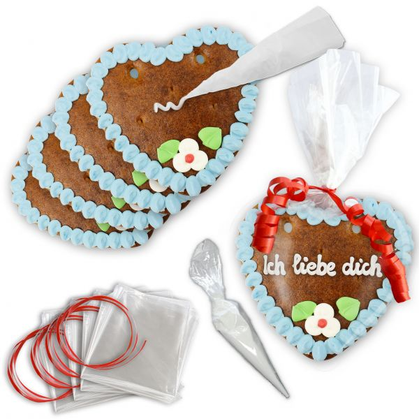 Lebkuchen Herz blank - selbst Beschriften 10er Set - 14cm - Blau