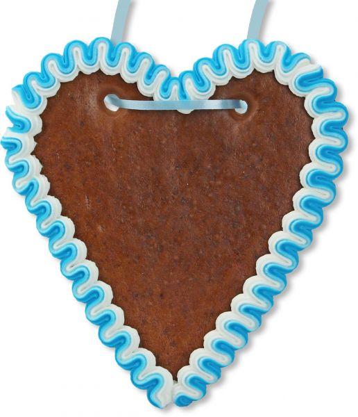 Lebkuchenherz Rohling - mit Rand - Blau-Weiß - 18cm