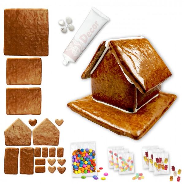 Lebkuchenhaus – Bausatz mit Zuckerguss-Tube – ca. 18x17x14cm - inkl. Schokolinsen und Gummibärchen
