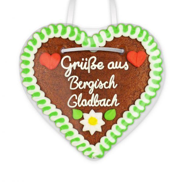 Lebkuchen Herz, 12cm - Grüße aus Bergisch Gladbach