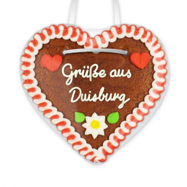 Lebkuchen Herz, 12cm - Grüße aus Duisburg