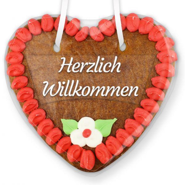 Lebkuchenherz mit Text - Aufkleber - 14cm - Herzlich Willkommen - Rot