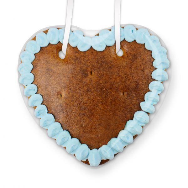 Lebkuchen Herz Rohling - mit Rand - 14cm - blau