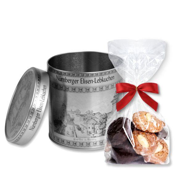 Geschenkdose + Mini Lebkuchen - Ø4cm - 150g - silberfarben