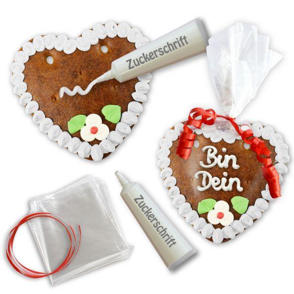 Lebkuchenherz Rohling - Selberbeschriften-Set - 14cm - Weiß
