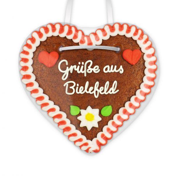Lebkuchenherz, 12cm - Grüße aus Bielefeld