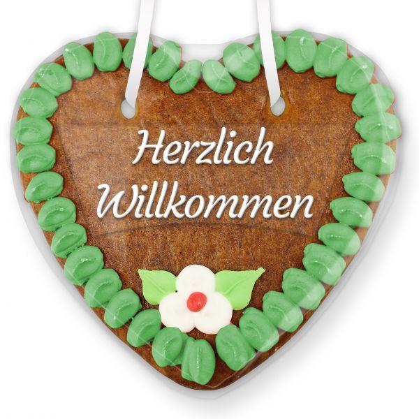 Lebkuchenherz mit Text - Aufkleber - 14cm - Herzlich Willkommen - Grün