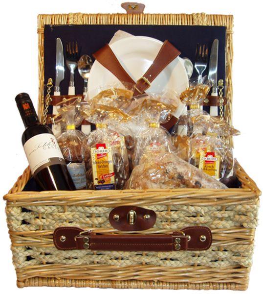 Geschenkkorb Picknick - mit Rotwein - ca. 2600g + 375ml