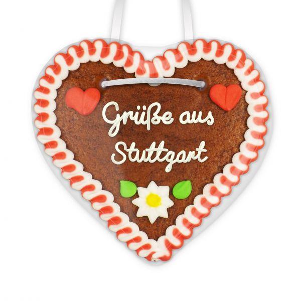 Lebkuchenherz, 12cm - Grüße aus Stuttgart