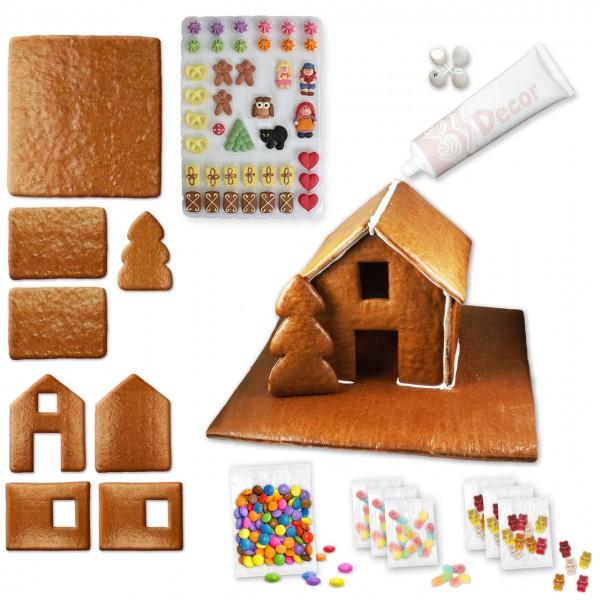 Lebkuchenhaus – Bausatz mit Zuckerguss-Tube - ca. 43x42x28cm - inkl. Hexenhausdeko A, Schokolinsen u