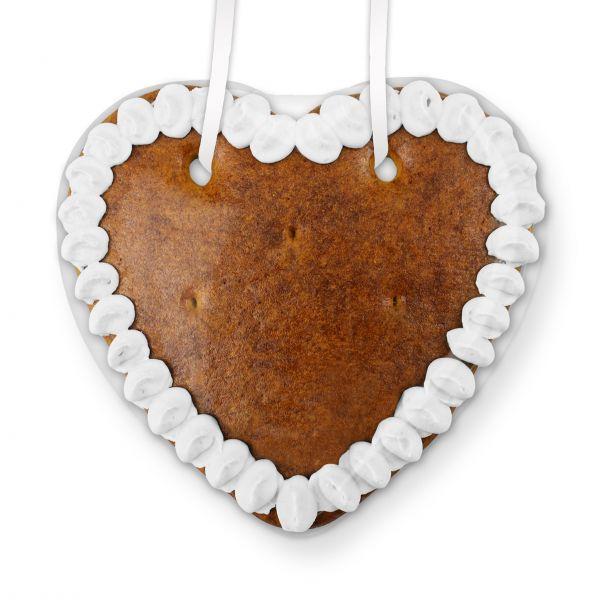 Lebkuchen Herz Rohling - mit Rand - 14cm - weiß
