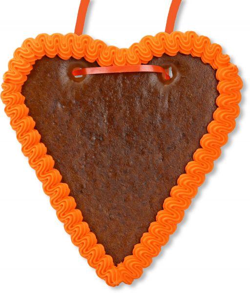 Lebkuchenherz Rohling - mit Rand - Orange - 18cm