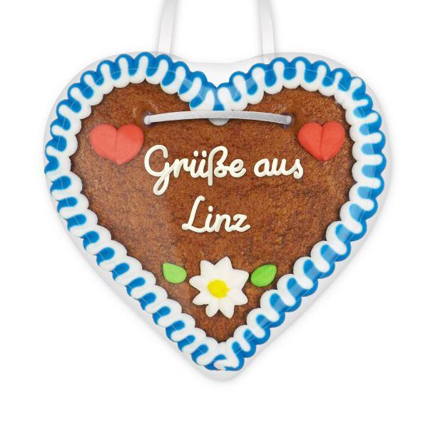 Lebkuchenherz, 12cm - Grüße aus Linz