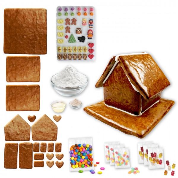 Lebkuchenhaus – Bausatz mit Zuckerguss Fertig-Mix – ca. 18x17x14cm - inkl. Hexenhausdeko A, Schokoli
