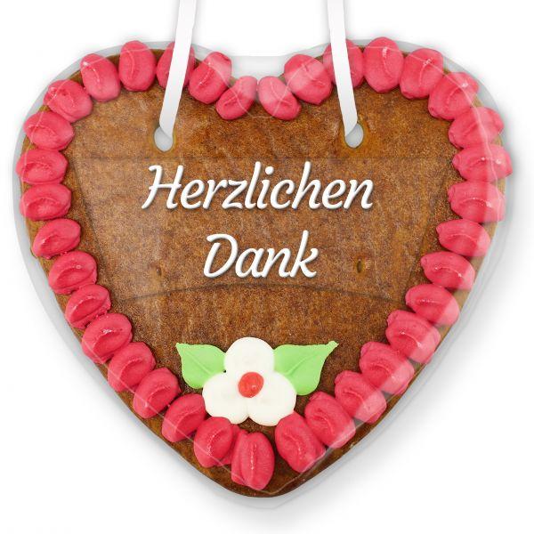 Lebkuchenherz mit Text - Aufkleber - 14cm - Herzlichen Dank - Pink