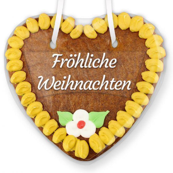Lebkuchenherz mit Text - Aufkleber - 14cm - Fröhliche Weihnachten - Gelb