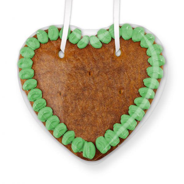 Lebkuchen Herz Rohling - mit Rand - 14cm - grün