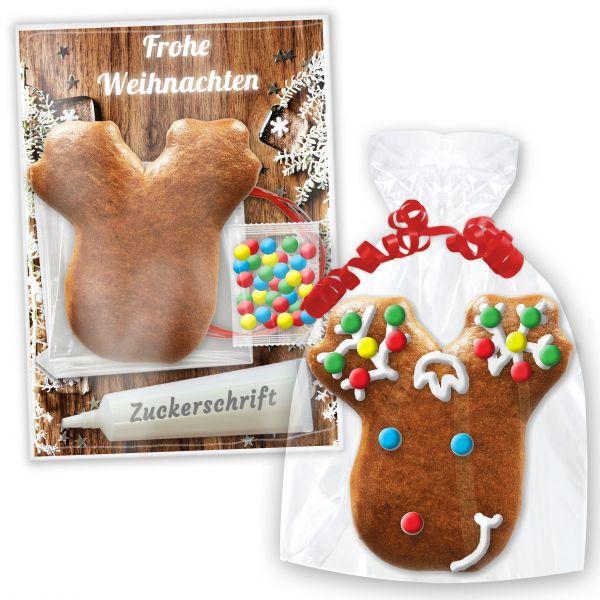 Bastelset mit Lebkuchen Elchkopf - zum selbst verzieren mit Anleitung - Weihnachten Edition