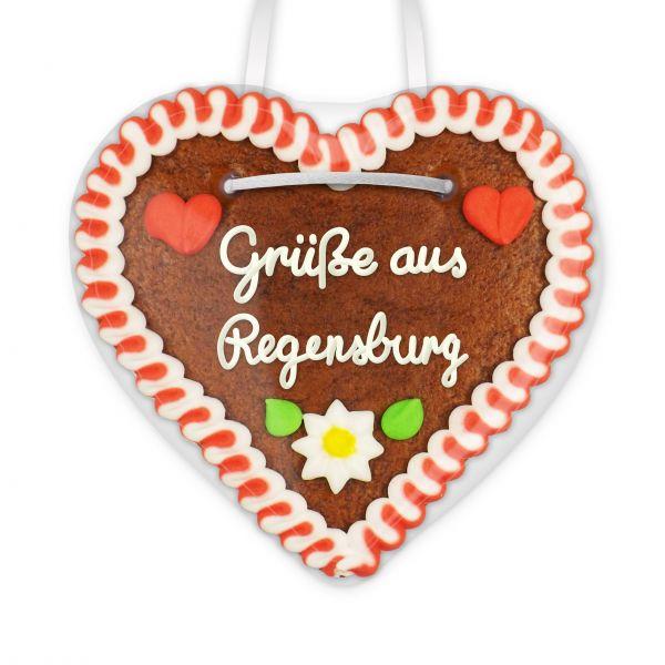 Lebkuchen Herz, 12cm - Grüße aus Regensburg