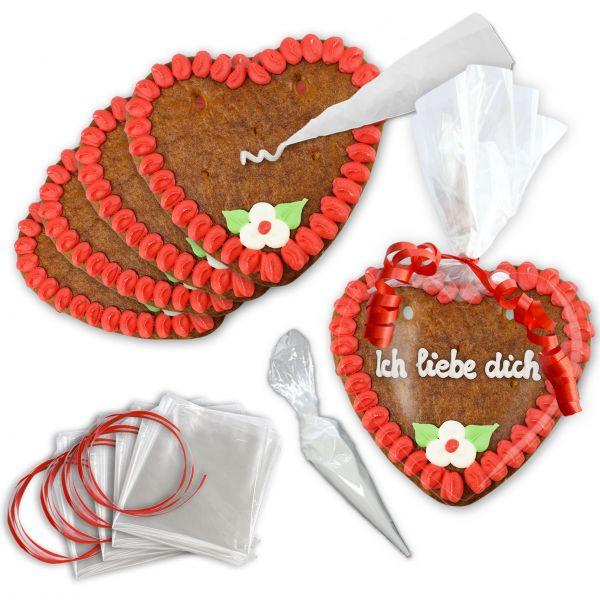 Lebkuchen Herzen selber Verzieren 10er Set - 14cm - Rot