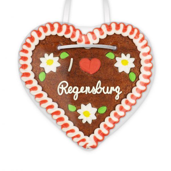Lebkuchenherz, 12cm - I love Regensburg