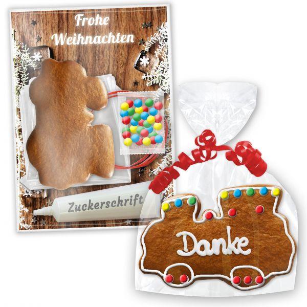 Lebkuchen Lokomotive im Bastelset - zum selbst Gestalten - Weihnachten Edition