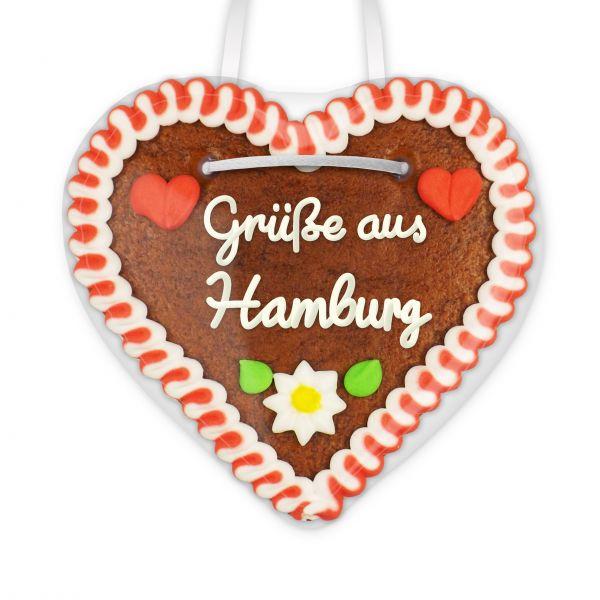 Lebkuchen Herz, 12cm - Grüße aus Hamburg
