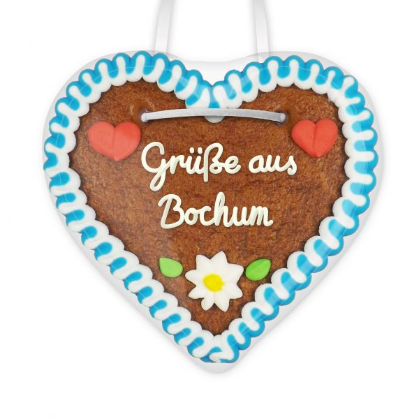 Lebkuchen Herz, 12cm - Grüße aus Bochum