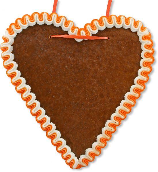 Lebkuchenherz Rohling - mit Rand - Orange-Weiß - 21cm