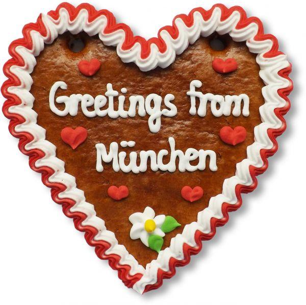 Lebkuchenherz, 14cm - Greetings from München