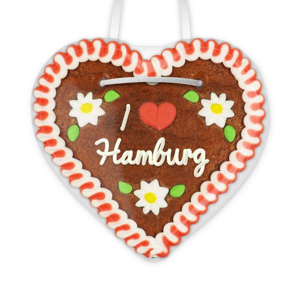 Lebkuchen Herz, 12cm - I love Hamburg
