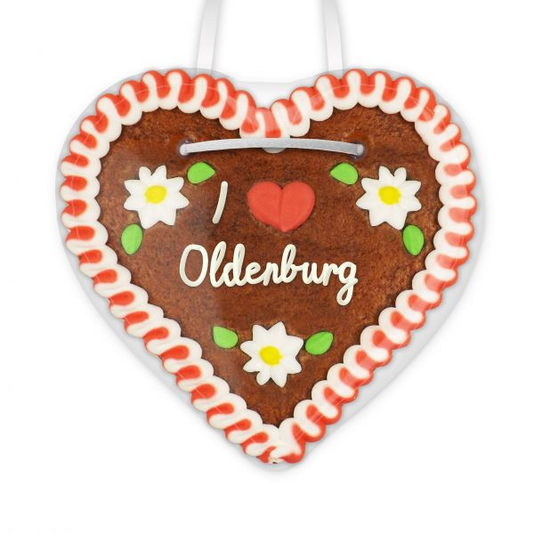Lebkuchenherz, 12cm - I love Oldenburg