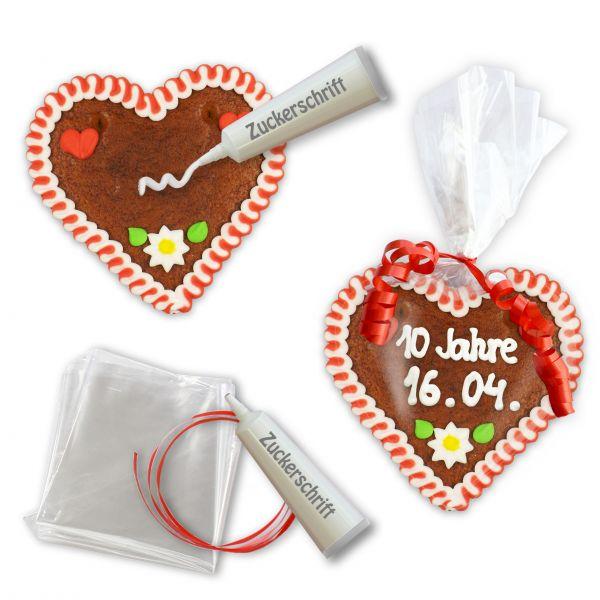 Mini Lebkuchenherz Selber Beschriften Set - 12cm - Design 1 - rot-weiß