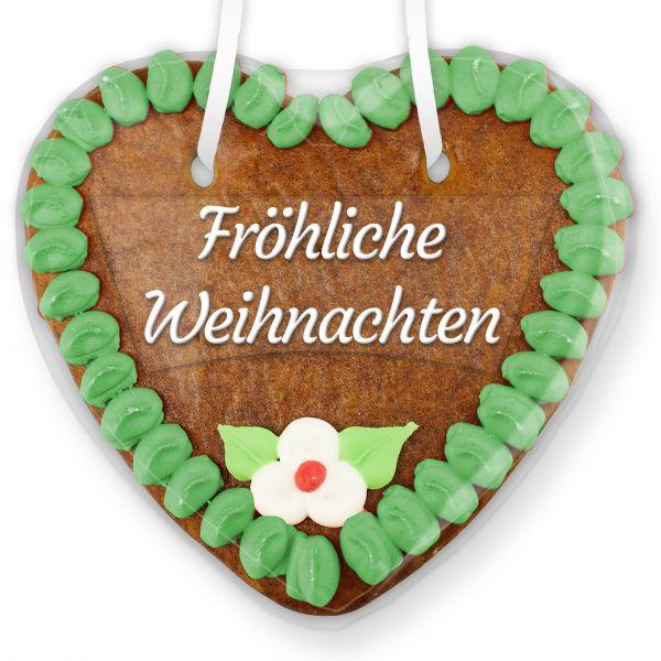 Lebkuchenherz mit Text - Aufkleber - 14cm - Fröhliche Weihnachten - Grün