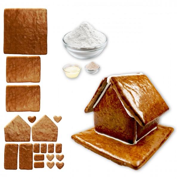 Lebkuchenhaus – Bausatz mit Zuckerguss Fertig-Mix – Größe L – ca. 18x17x14cm