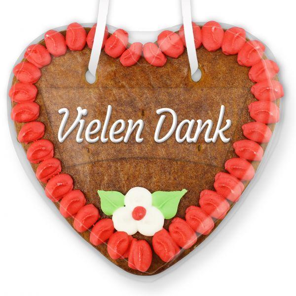 Lebkuchenherz mit Text - Aufkleber - 14cm - Vielen Dank - Rot