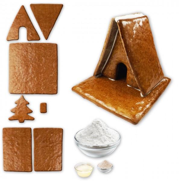 Hexenhaus – Bausatz mit Zuckerguss Fertig-Mix – Größe L – ca. 17x17x15cm