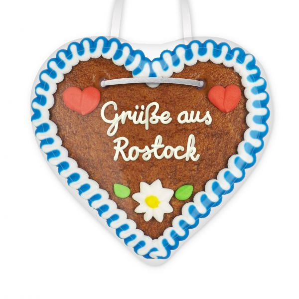 Lebkuchenherz, 12cm - Grüße aus Rostock
