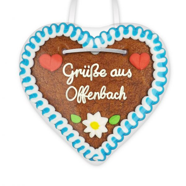 Lebkuchenherz, 12cm - Grüße aus Offenbach