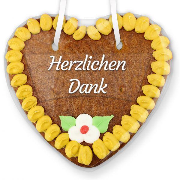Lebkuchenherz mit Text - Aufkleber - 14cm - Herzlichen Dank - Gelb